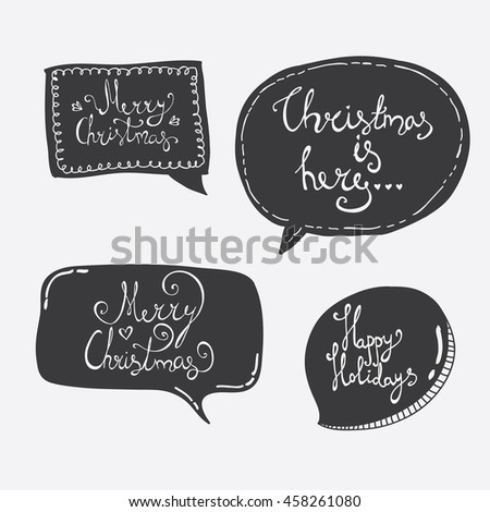 hand lettering merry christmas overlays on speech bubbles - Christmas Overlays