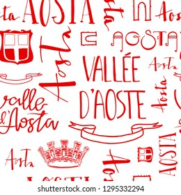 Hand lettering pattern with Aosta valley quote