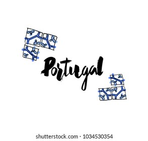 "Hand lettering ""Portugal"" with Portuguese ceramics illustration"