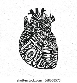 Hand lettering poster with words love, hugs, kisses and other romantic sayings in a shape of a human heart. Unique typography. Vector art for posters, cards or shirt design.