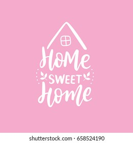 Hand Lettering print for textile. Hand lettering sweet home. White calligraphy with house on pink background.