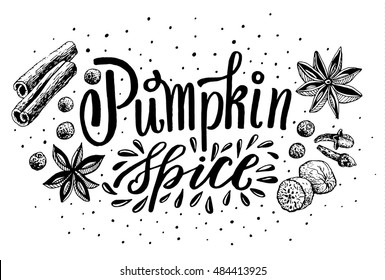 Hand Lettering Pumpkin Spice. Coffee restaurant brochure vector, coffee shop menu design. Vector cafe template with hand-drawn graphic. Coffee flyer.