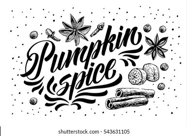 Hand Lettering Pumpkin Spice. Coffee restaurant brochure vector, coffee shop menu design. Vector cafe template with hand-drawn graphic. Coffee flayer.