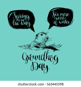 Hand lettering quotes: Spring Is On The Way, Six More Weeks Of Winter in speech bubbles. Vector Happy Groundhog Day sketched illustration. February 2 greeting holiday poster or card etc.