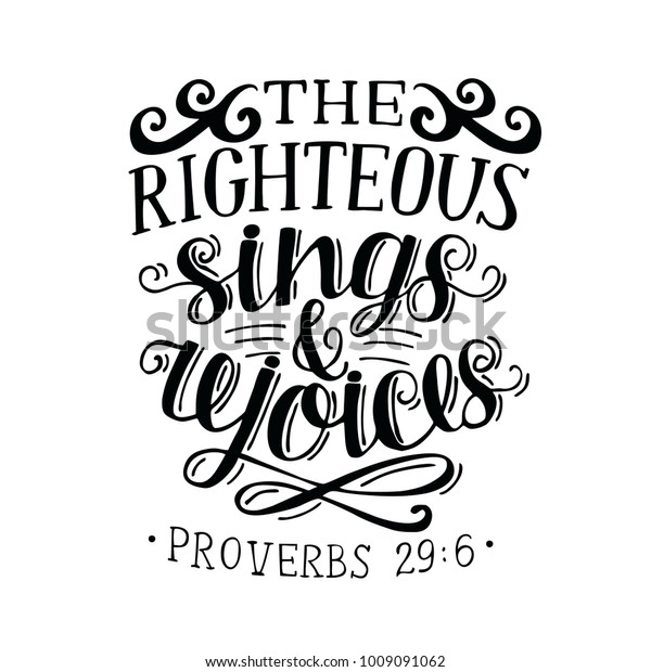 Hand Lettering Righteous Sings Rejoces Biblical Stock Vector