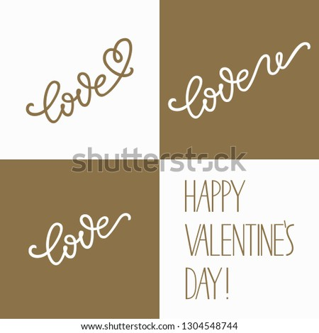 Hand Lettering Set Phrase Love You Stock Vector (Royalty