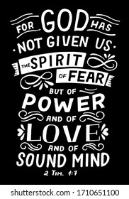 Hand lettering Spirit not fear. Biblical background. Christian poster. Scripture print. Bible Verse