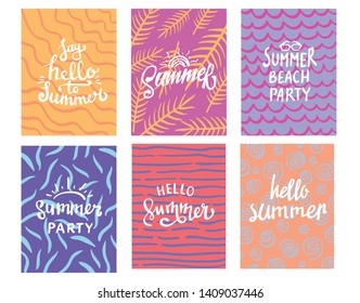 hand lettering summer typography design with colorful background