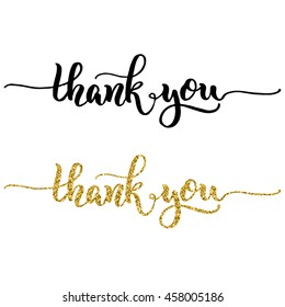 Hand lettering thank you, black ink and gold glitter effect, isolated on white background. Vector illustration. Modern calligraphy, can be used for card design.