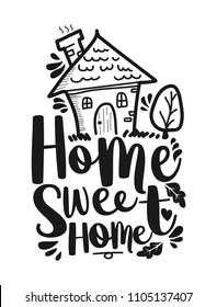 "Hand lettering typography poster, calligraphic quote ""Home sweet home"" for housewarming posters, greeting cards, and home decorations"
