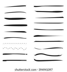 hand lettering underlines lines vector set