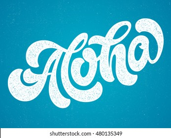 Hand lettering vector illustration. Aloha. Vector calligraphy illustration. T-shirt graphic print design.