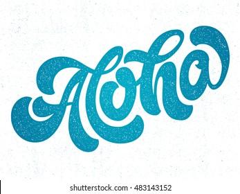 Hand lettering vector illustration. Aloha. Vector calligraphy illustration. T-shirt graphic print design.