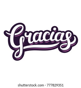 Hand lettering word Gracias, Thank you in Spanish. Beautiful handwritten text in graffiti poster style, gratitude vector illustration.