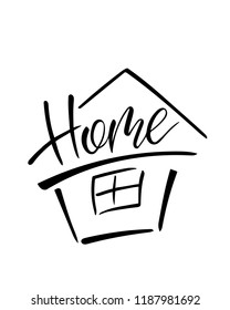 """hand lettering, word """"home"""", handwritten with a brushpen, a graphic element for interior or exterior decor, logo for a real estate agency, poster, housewarming greeting card or invitation etc."""
