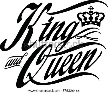 Hand Lettering Word King Queen Vector Stock Vector Royalty Free