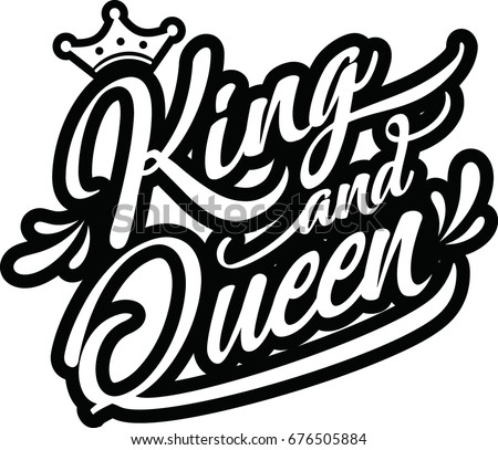 hand lettering word king queen vector stock vector royalty free