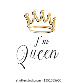 Hand lettering .Word queen. Background with crown. Decorating of invitations,greeting,cards ,t-shirts. Vector illustration