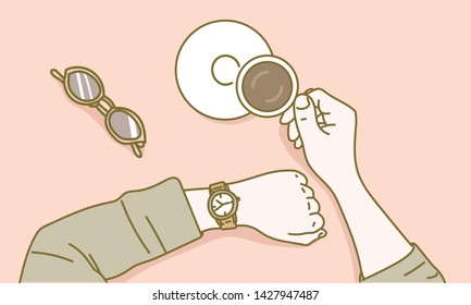 A hand lifting a cup of coffee. hand drawn style vector design illustrations.
