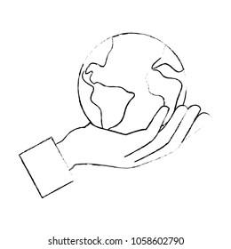 hand lifting the world