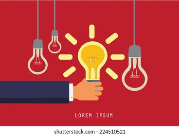 Hand with lightbulb symbol of idea  concept. flat design.