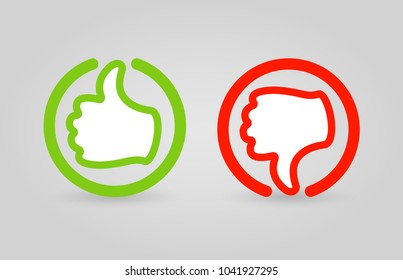 Hand Like, Dislike sign, icon, label. Green and red social, media button. Vector illustration