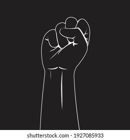 Hand line fist symbol for black lives matter protest in USA to stop violence against black people
