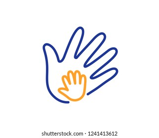 Hand line icon. Social responsibility sign. Honesty, collaboration symbol. Colorful outline concept. Blue and orange thin line color Social responsibility icon. Vector