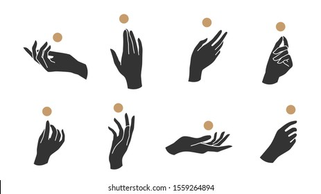Hand linear style icon, Hands and fingers vector design in various poses for create logo and line arts design Template.