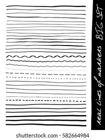 Hand lines - real markers. Big set. Different lines - straight, wavy, interrupt, dotted, thick, thin... Black. Isolated on white background. Vector - eps 10.