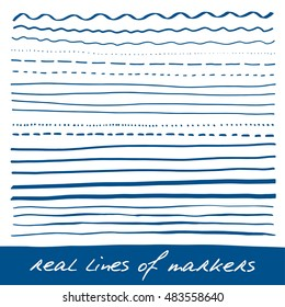 Hand lines - real markers. Different lines - straight, wavy, interrupt, dotted, thick, thin... Blue. Vector set. Isolated on white background. Eps 10
