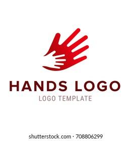 Hand to hand logo. Vector abstract logo design.