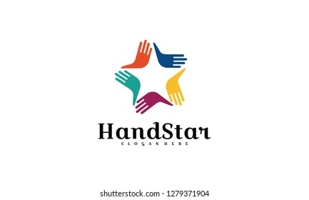 hand logo,hand star logo design template,5 sided colorful star union logo icon template concept with hands for organization company. - Vector