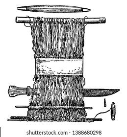 Hand Loom is  earliest looms were vertical warp-weighted looms, the warp threads suspended from a branch or piece of wood and weighted or attached to the ground, vintage line drawing or engraving