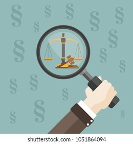 Hand with loupe, paragraphs, beam balance and judges gavel on the green background. Eps 10 vector file.