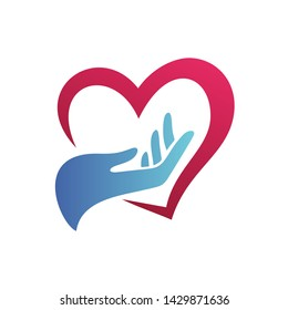 Hand and Love Logo Design