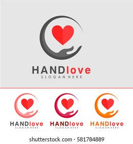 Hand and Love Logo, icon and Sign Vector in Hand Love, and charity Concept With Color Option