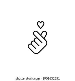 Hand Love Mini Heart Love Line Icon - Valentine Day Icon - Outline Icon - Vector Illustration