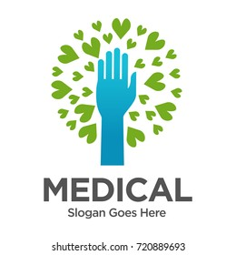Hand Love Nature Tree Medical Logo