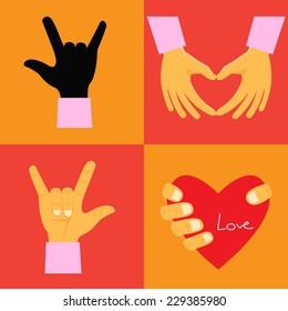 hand love sign vector illustration.