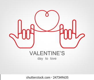 Hand Love vector for valentine's day .