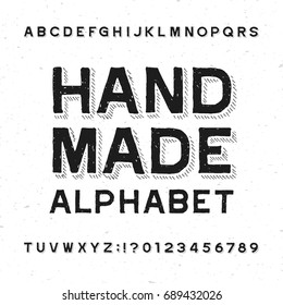 Hand made alphabet font. Distressed vintage letters and numbers on a grunge background. Vector typeface for your design.