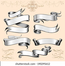 Hand made calligraphy vector baners with swirly lines