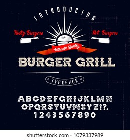 Hand Made Font 'Burger Grill'. Custom handwritten alphabet. Retro textured hand drawn typeface with grunge effect. Vector illustration. Letters and Numbers. Original Design. Serif Font.