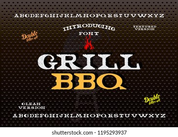 Hand Made Font 'Grill'. Custom handwritten alphabet. Retro textured hand drawn typeface with grunge effect. Vector illustration. Letters and Numbers. Original Design. Serif Font.
