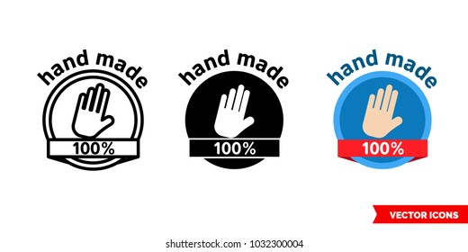 Hand made icon of 3 types: color, black and white, outline. Isolated vector sign symbol.