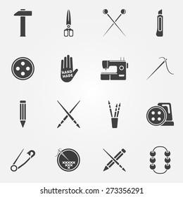 Hand made icons set - vector creative drawing, sewing, crafting symbols or logos