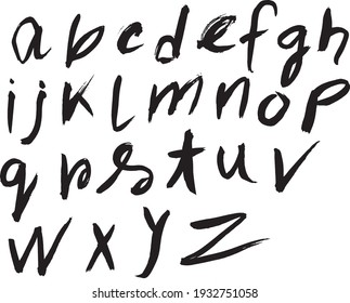 Hand Made Ink Doodle Lowercase Font Isolated Vector Illustration. Doodle Fonts.
