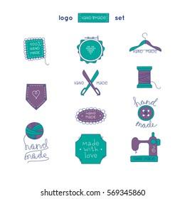 Hand made logo set. Hobby tools emblems collection.