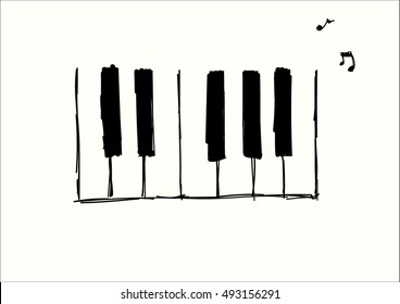 Hand made piano keys illustration